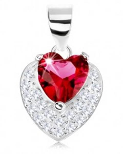 2180c91d0 Prívesok zo striebra 925, trblietavé vypuklé srdiečko, červený srdcový  zirkón SP75.04