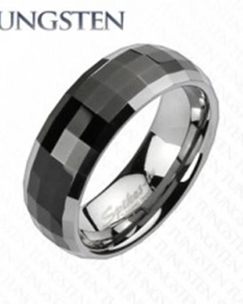 Prsteň z wolfrámu v disco štýle - čierny stred, okraje striebornej farby - Veľkosť: 49 mm