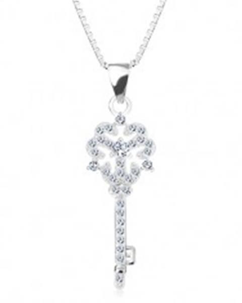 Strieborný 925 náhrdelník, retiazka s príveskom, kľúčik s kvietkom, číre zirkóny