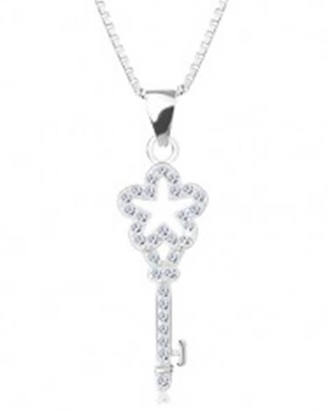 Strieborný 925 náhrdelník, retiazka s príveskom, zirkónový kľúčik s kvietkom