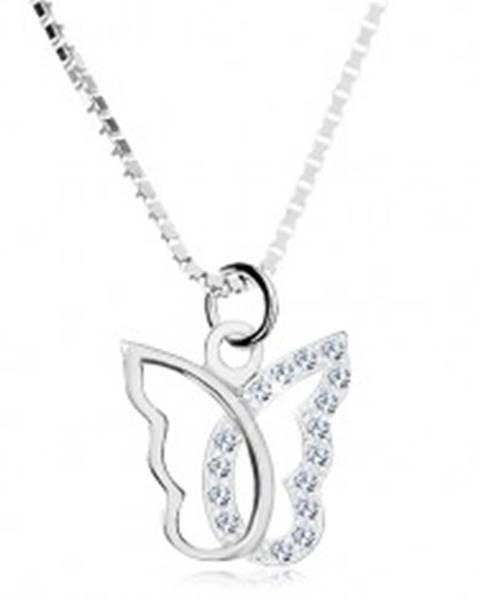 Strieborný náhrdelník 925, kontúra motýľa so zirkónovou polovicou