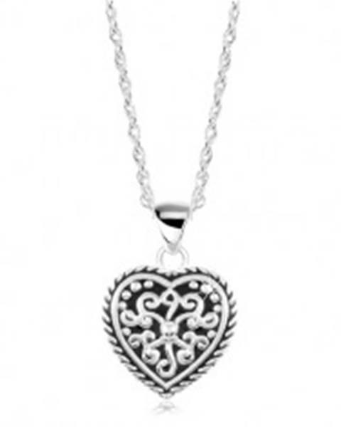 Strieborný náhrdelník 925, srdce s čiernou glazúrou a ornamentmi SP19.23