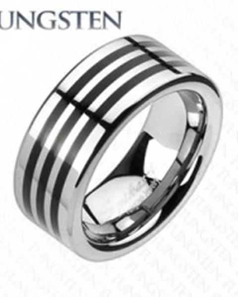 Tungstenový prsteň s troma čiernymi pásikmi po obvode C19.1 - Veľkosť: 49 mm