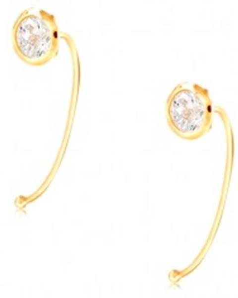 Zlaté 14K náušnice - číry okrúhly zirkón v objímke, tenký oblúk