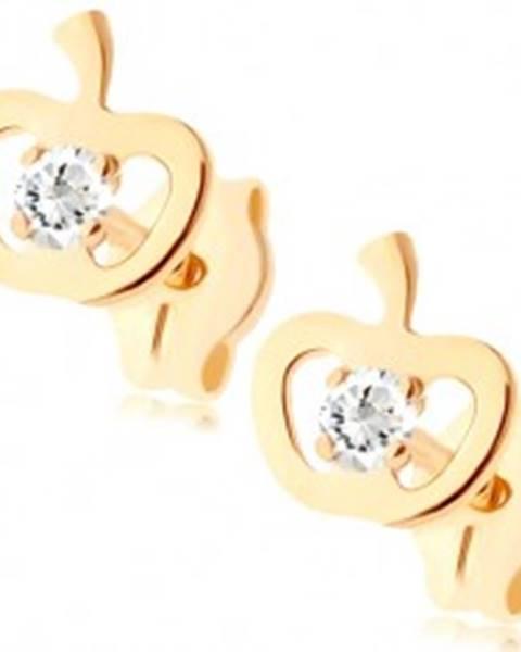 Zlaté náušnice 375 - ligotavý obrys jabĺčka, okrúhly zirkón čírej farby GG79.09