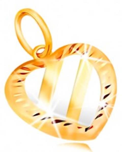 Zlatý prívesok 14K - srdce s tromi šikmými pásmi z bieleho zlata, zárezy