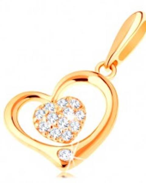 Zlatý prívesok 585 - lesklý obrys srdca s menším zirkónovým srdiečkom