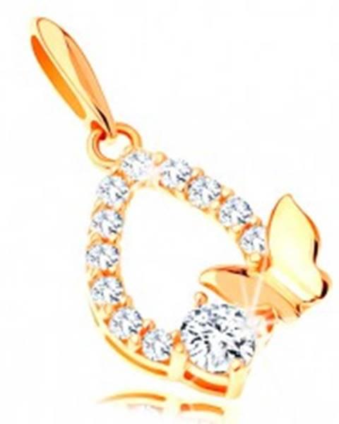 Zlatý prívesok 585 - trblietavý obrys slzy, lesklý motýlik a číry zirkón GG120.13