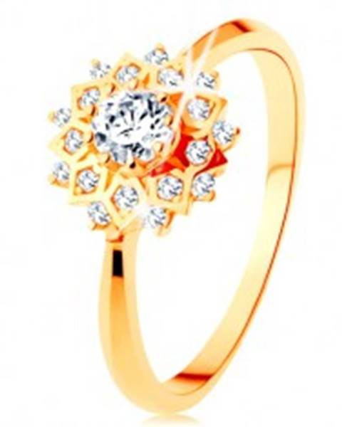 Zlatý prsteň 585 - trblietavé slnko zdobené okrúhlymi čírymi zirkónikmi - Veľkosť: 49 mm