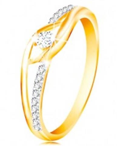 Prsteň zo 14K zlata - rozdvojené a zahnuté ramená, okrúhly zirkón v strede GG213.01/08 - Veľkosť: 49 mm