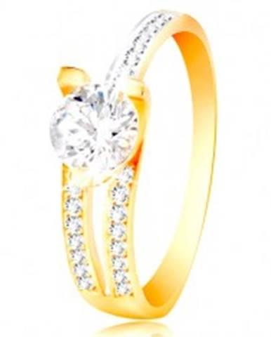 Prsteň zo 14K zlata - veľký číry zirkón, asymetrické ramená s drobnými zirkónmi GG216.32/37 - Veľkosť: 50 mm