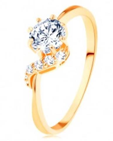 Prsteň zo žltého 14K zlata - okrúhly zirkón čírej farby, ligotavá vlnka GG128.01/125.25/28 - Veľkosť: 49 mm