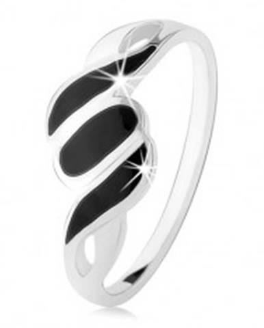 Strieborný 925 prsteň, hladké ramená, šikmé línie a ovál, čierny ónyx - Veľkosť: 49 mm