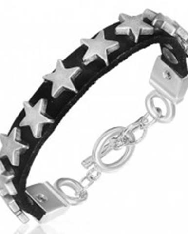 Úzky náramok z kože s kovovými hviezdičkami