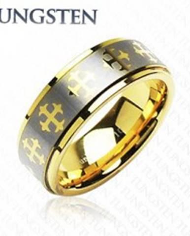 Wolfrámový prsteň s krížikmi a  pásom striebornej farby K17.16 - Veľkosť: 49 mm