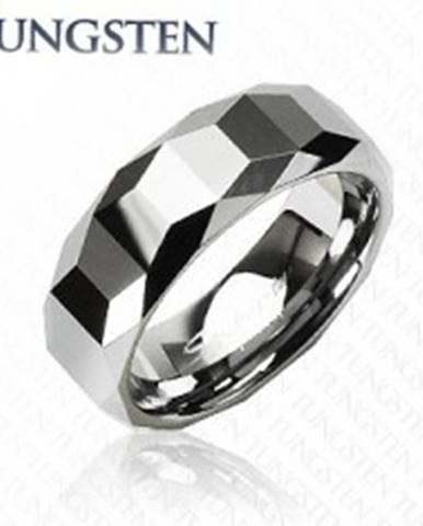 Wolfrámový prsteň - vysokolesklý s geometrickým vzorom K16.19 - Veľkosť: 57 mm