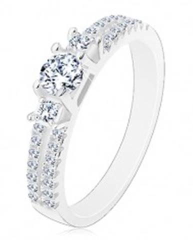 Zásnubný prsteň, striebro 925, rozdelené zirkónové ramená, tri číre zirkóny J10.14 - Veľkosť: 50 mm