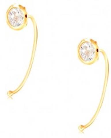 Zlaté 14K náušnice - číry okrúhly zirkón v objímke, tenký oblúk GG209.23