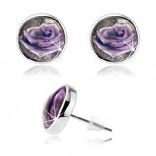 Cabochon náušnice, číra vypuklá glazúra, fialová ruža s bielym okrajom