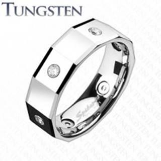 Hranatý volfrámový prsteň so štvorcami a zirkónmi K16.9 - Veľkosť: 49 mm