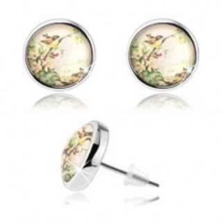 Kabošon náušnice s čírou vypuklou glazúrou, dva malé vtáčiky, kvety SP74.16