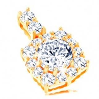 Ligotavý zlatý prívesok 585 - štvorcový zirkónový obrys, okrúhly číry zirkón GG119.06