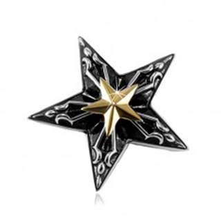 Oceľový prívesok, veľká čierna hviezda s malou hviezdou zlatej farby v strede S03.06