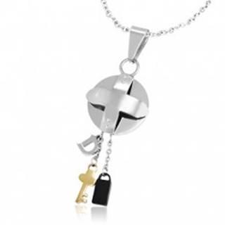 Oceľový trojfarebný prívesok - medajlón s krížom a malé prívesky Z22.14