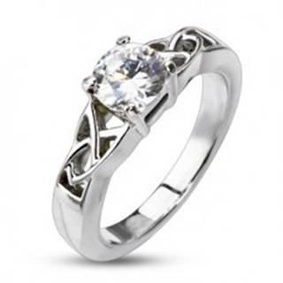 Oceľový zásnubný prsteň - uzlíky okolo okrúhleho zirkónu - Veľkosť: 48 mm