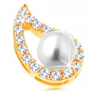 Prívesok v žltom 14K zlate - asymetrický obrys kvapky, číre zirkóny, perla GG123.08