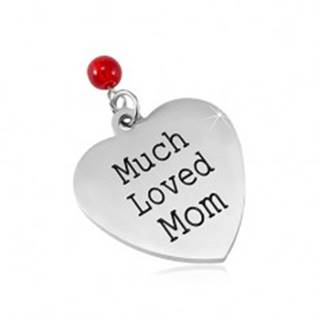 Prívesok z chirurgickej ocele, matné srdce s nápisom a červenou guličkou SP82.03