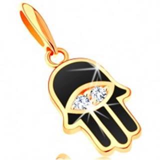 Prívesok zo žltého 14K zlata - ruka Fatimy pokrytá čiernou glazúrou, oko GG121.07