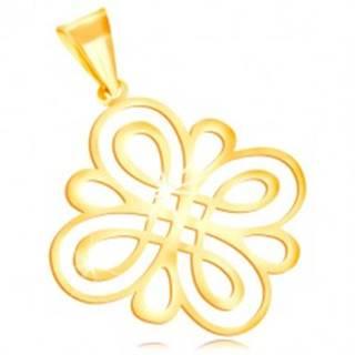 Prívesok zo žltého zlata 585 - lesklý plochý ornament z oblých slučiek