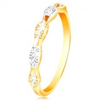 Prsteň v 14K zlate - dvojfarebné zrnká so vsadenými zirkónmi, lesklé ramená - Veľkosť: 50 mm