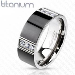 Prsteň z titánu predelený štyrmi radmi čírych zirkónov - Veľkosť: 59 mm