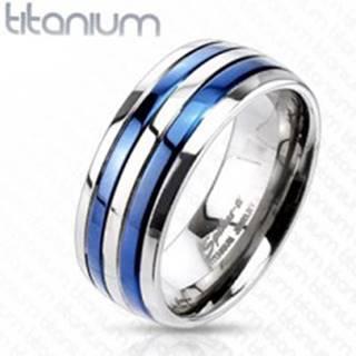 Prsteň z titánu s dvoma modrými pruhmi - Veľkosť: 49 mm