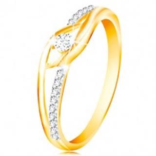 Prsteň zo 14K zlata - rozdvojené a zahnuté ramená, okrúhly zirkón v strede - Veľkosť: 49 mm