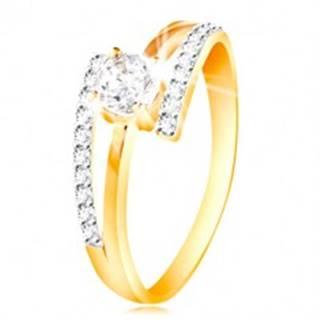 Prsteň zo 14K zlata - rozdvojené ramená, vystúpený okrúhly zirkón čírej farby - Veľkosť: 49 mm