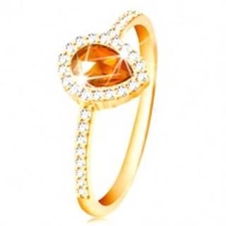 Prsteň zo žltého 14K zlata, kvapka oranžovej farby s čírym zirkónovým lemom - Veľkosť: 49 mm