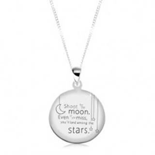 Strieborný 925 náhrdelník, okrúhla známka s vygravírovaným citátom