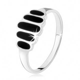 Strieborný 925 prsteň, čierne ónyxové ovály, hladké ramená, vysoký lesk - Veľkosť: 49 mm