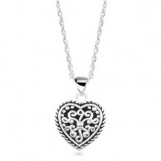 Strieborný náhrdelník 925, srdce s patinou a ornamentmi