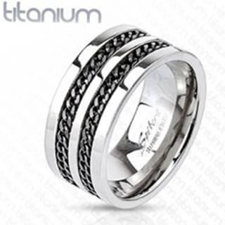 Titánový prsteň - čierne retiazky - Veľkosť: 58 mm