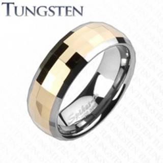 Wolfrámový prsteň - obdĺžnikové lomené fazety zlatej farby - Veľkosť: 49 mm