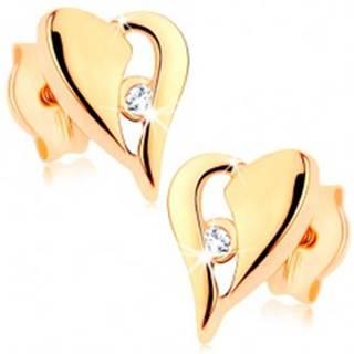 Zlaté náušnice 375 - nesúmerné srdce s výrezom a drobným zirkónikom