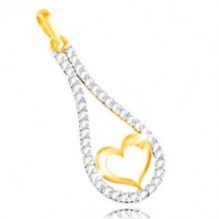 Zlatý 14K prívesok - obrys srdca v zirkónovej kontúre kvapky GG212.08