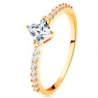Zlatý prsteň 585 - číry zirkónový štvorček, trblietavé línie na ramenách - Veľkosť: 49 mm