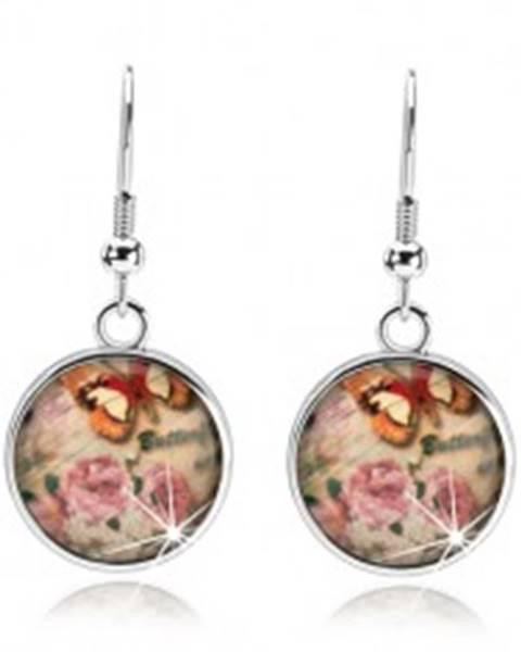 Cabochon náušnice, sklo, ružové a biele kvety, hnedo-biely motýľ, nápis