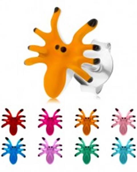 Náušnice zo striebra 925, farebný pavúčik s ôsmimi nohami, puzetky I21.26/30 - Farba: Červená