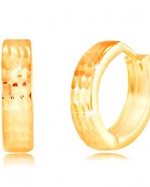 Okrúhle náušnice zo žltého 14K zlata - ligotavé zvislé zárezy